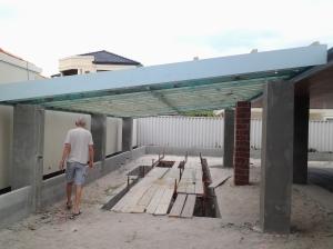 Skillion roof pool pergola